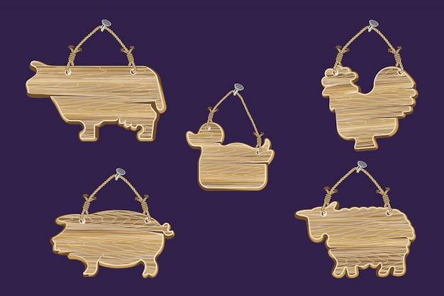Zestaw drewnianych ścian w kształcie zwierząt