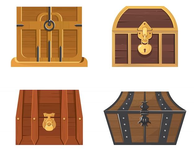 Zestaw drewnianych skrzyń skarbów. zabytkowe przedmioty w stylu cartoon.
