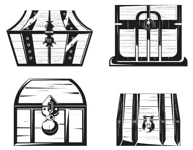 Zestaw drewnianych skrzyń w stylu monochromatycznym.