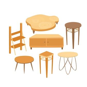 Zestaw drewnianych stołów i szafek do wnętrz