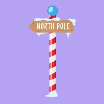 Zestaw drewnianych świątecznych znaków drogowych w zimowych wskaźnikach śnieżnych w płaskim stylu dla bieguna północnego
