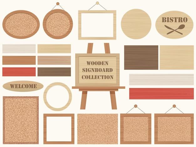 Zestaw drewnianych szyldów i ramek na białym tle
