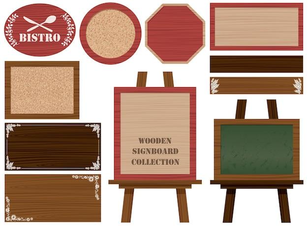 Zestaw drewnianych szyldów i ramek na białym tle.