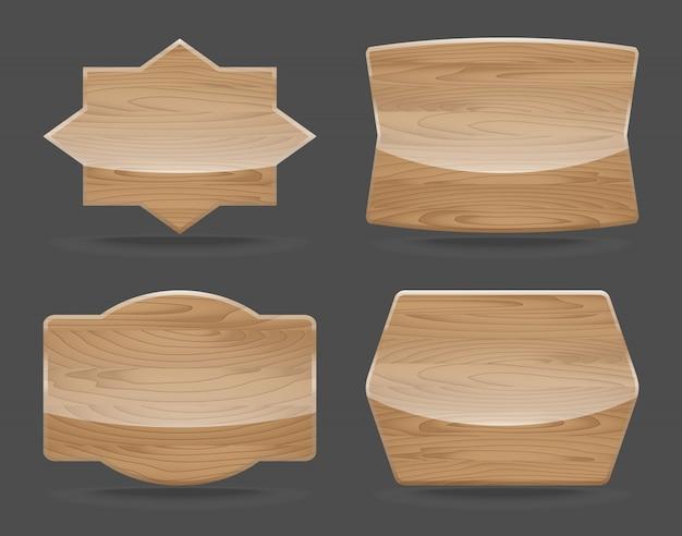 Zestaw drewnianych tablic z błyszczącym. ilustracji wektorowych