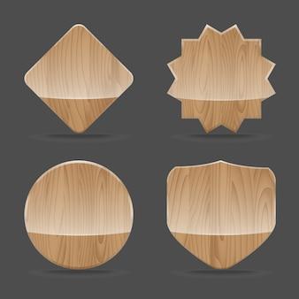 Zestaw drewnianych tablic znak z połyskiem