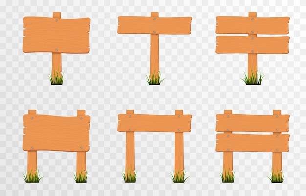 Zestaw drewnianych tabliczek z kreskówek na zielonej trawie drewniane tabliczki ze wskaźnikami