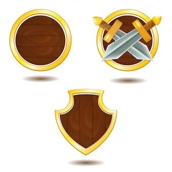 Zestaw drewnianych tarcz ze złotą ramą i mieczami