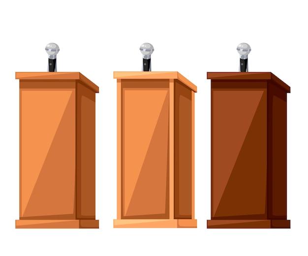 Zestaw drewnianych trybun. różne rodzaje trybun z materiałów drzewnych. stojak na mównicę z mikrofonem. ilustracja na białym tle.