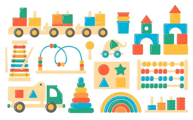 Zestaw drewnianych zabawek dla dzieci. ilustracje w stylu kreskówki.