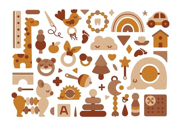 Zestaw drewnianych zabawek dla niemowląt eco w neutralnych kolorach.