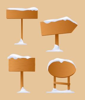Zestaw drewnianych znaków drogowych. zimowy znak drogowy. śnieg w stylu kreskówki drewniane