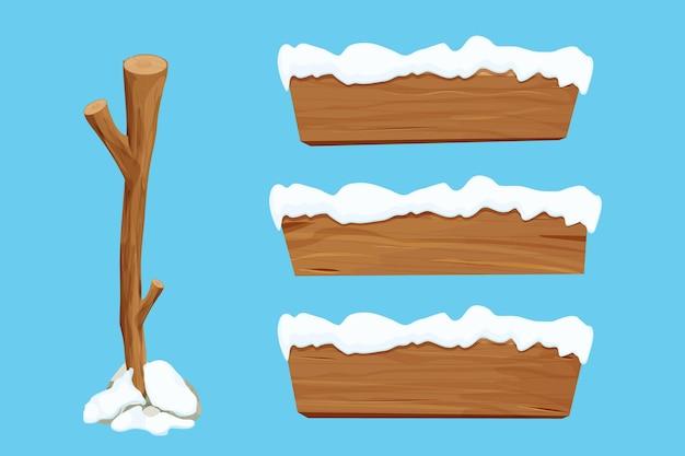 Zestaw drewnianych znaków kij drzewny i drewniane puste deski ze śniegiem w stylu kreskówki