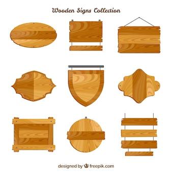 Zestaw drewnianych znaków w płaskim stylu