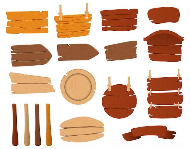 Zestaw drewnianych znaków wektorowych.
