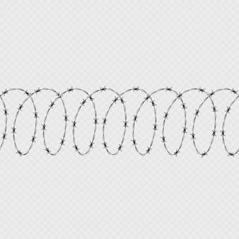 Zestaw drutu kolczastego spiralny kształt na białym tle na przezroczystym tle. poziomy wzór ze skręconym drutem kolczastym.