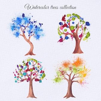 Zestaw drzew akwarela