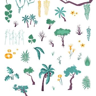 Zestaw drzew i roślin w dżungli