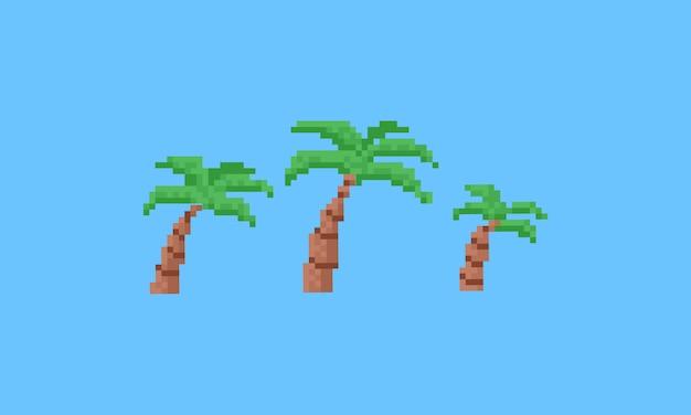 Zestaw drzew kokosowych pixel.