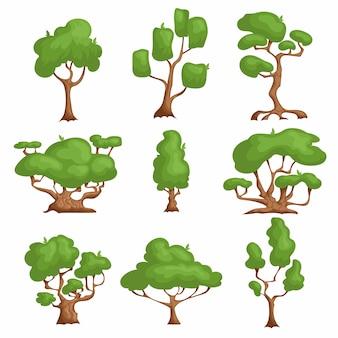 Zestaw drzew kreskówek. różne rodzaje roślin w stylu komiksowym.