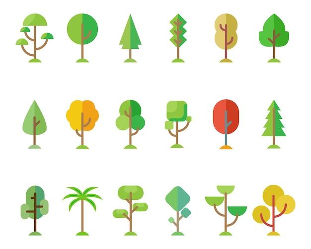 Zestaw drzew leśnych