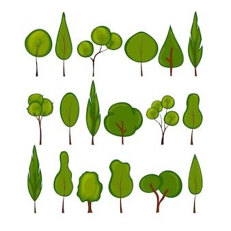 Zestaw drzew. styl kreskówki.