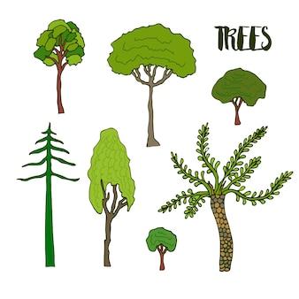 Zestaw drzew szkic strony. kolekcja drzewa wektorowego
