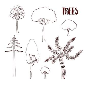 Zestaw drzew szkic wektor ręka. ręcznie rysowane kolekcja na białym tle drzewa wektor