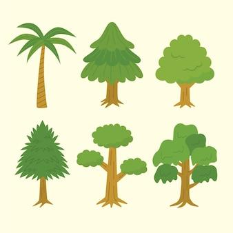 Zestaw drzew w stylu płaskim