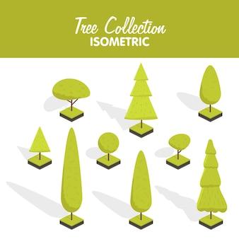 Zestaw drzewa izometrycznego. płaska ilustracja kreskówka wektor