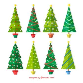 Zestaw drzewek na boże narodzenie w płaskim stylu