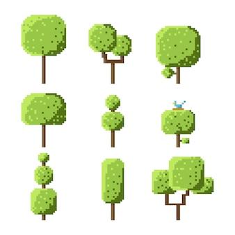 Zestaw drzewo kostki pikseli