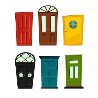 Zestaw drzwi na białym tle do budowy i projektowania. styl kreskówkowy. ilustracja.
