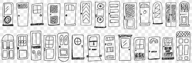 Zestaw drzwi o różnych stylach doodle