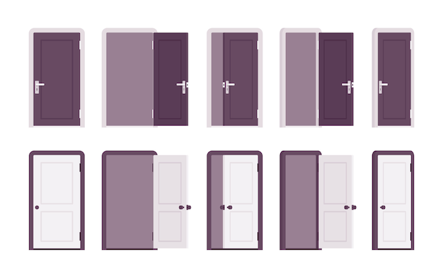 Zestaw drzwi w kolorze białym i czarnym