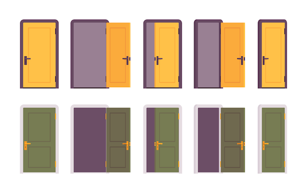 Zestaw drzwi w kolorze żółtym i zielonym