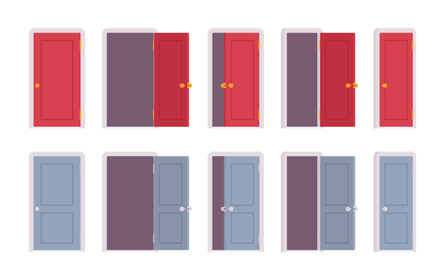 Zestaw drzwi w różnych pozycjach