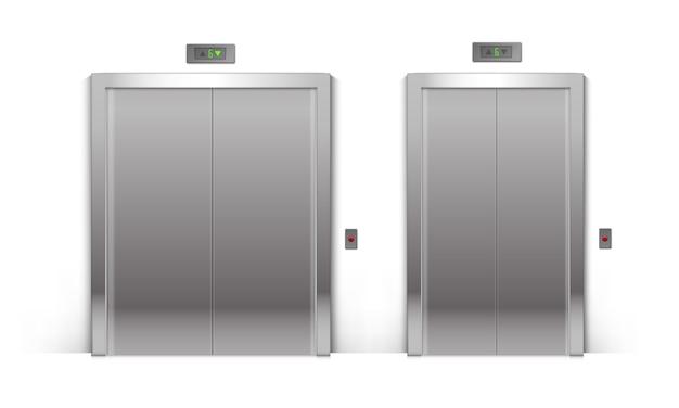 Zestaw drzwi windy realistyczne zamknięte chromowane metalowe budynek biurowy na białym tle na tle