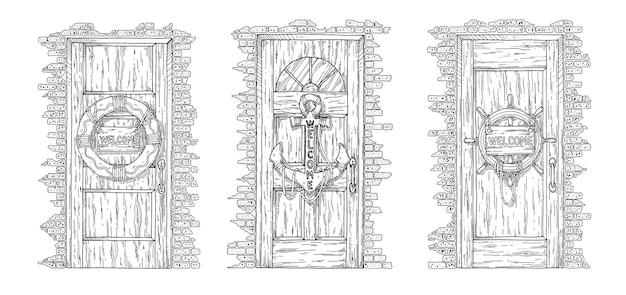 Zestaw drzwi z kotwicą na białym tle