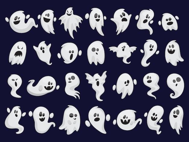 Zestaw duchów. upiorna sylwetka halloween. kostium horror