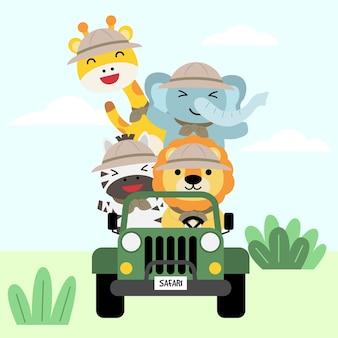 Zestaw dużej izolowanej zwierzęcej przygody podróżniczej ilustracja, ręcznie rysowane styl, turystyka i koncepcja kempingu z elementami podróży.