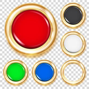 Zestaw dużych plastikowych guzików w różnych kolorach ze złotą metaliczną obwódką
