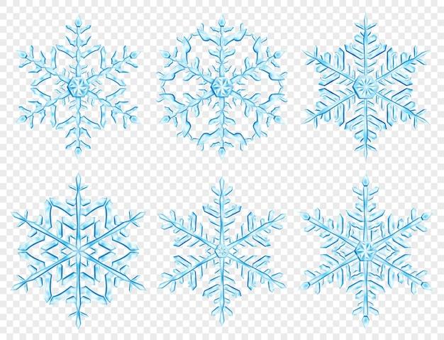 Zestaw dużych złożonych przezroczyste płatki śniegu boże narodzenie w jasnoniebieskich kolorach, na przezroczystym tle. przezroczystość tylko w formacie wektorowym