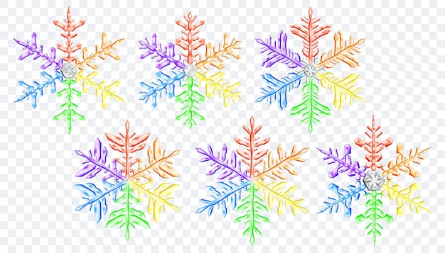Zestaw dużych złożonych przezroczystych świątecznych płatków śniegu w kolorach lgbt, na przezroczystym tle. przezroczystość tylko w formacie wektorowym