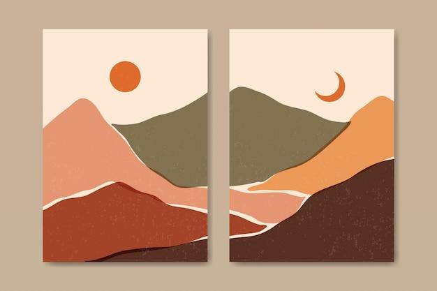 Zestaw dwóch abstrakcyjnych estetycznych współczesnych krajobrazów z połowy wieku szablon współczesnego plakatu boho