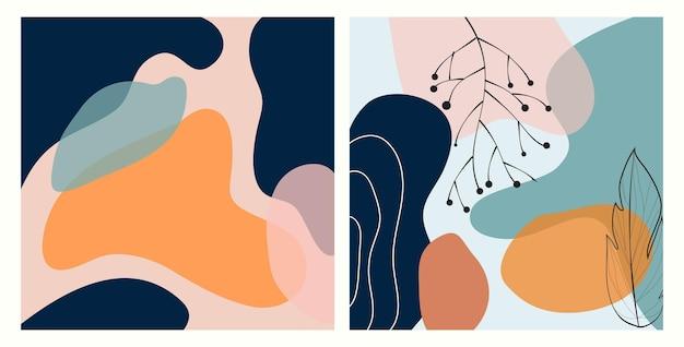 Zestaw dwóch abstrakcyjnych współczesnych ramek banerowych liści natury do wydruków tekstylnych i tła