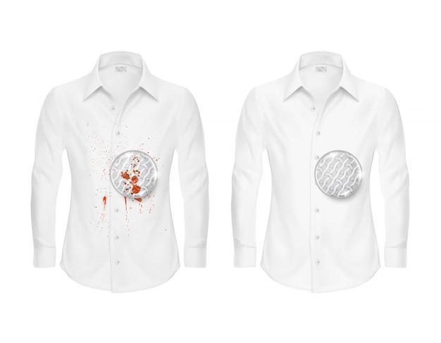 Zestaw dwóch białych koszulek, czystych i brudnych, z lupą pokazującą włókno tekstylne