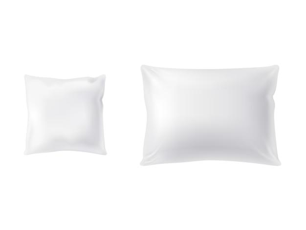 Zestaw dwóch białych poduszek, kwadratowych i prostokątnych, miękkich i czystych