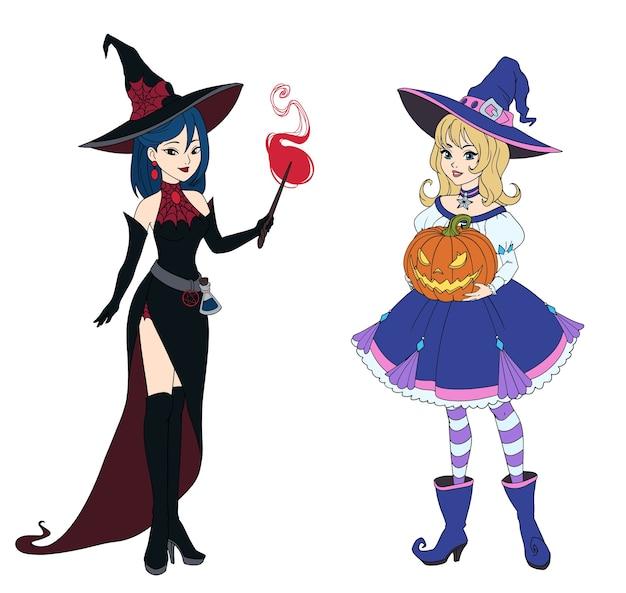 Zestaw dwóch czarownic trzymających dyni halloween i różdżkę.