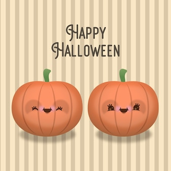 Zestaw dwóch dyni halloweenowych z zabawnymi minami