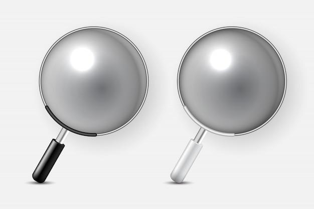 Zestaw dwóch ikon szkła powiększającego